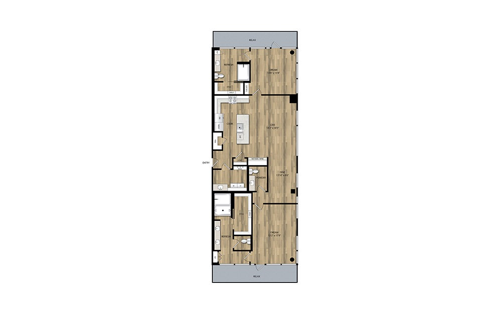 PH4 - 2 bedroom floorplan layout with 2.5 baths and 1671 square feet.