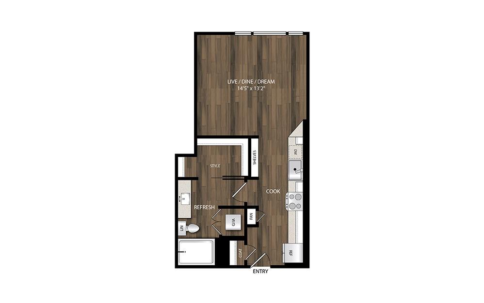 S1 - Studio floorplan layout with 1 bath and 526 square feet.