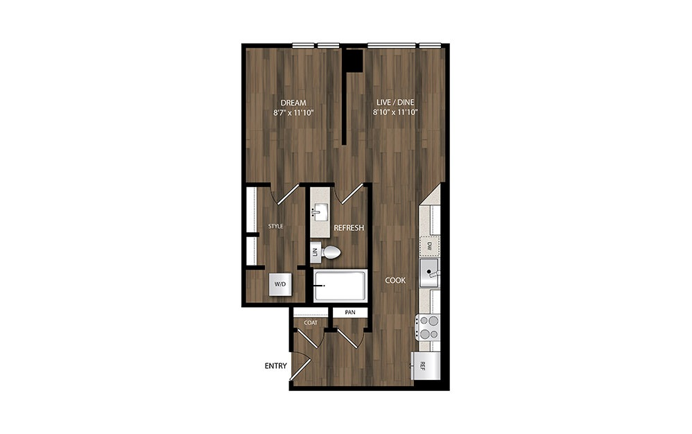 S2 - Studio floorplan layout with 1 bath and 558 square feet.
