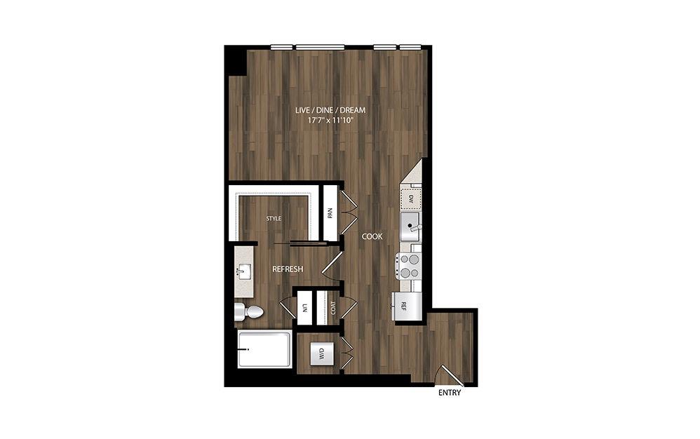 S3 - Studio floorplan layout with 1 bath and 566 square feet.
