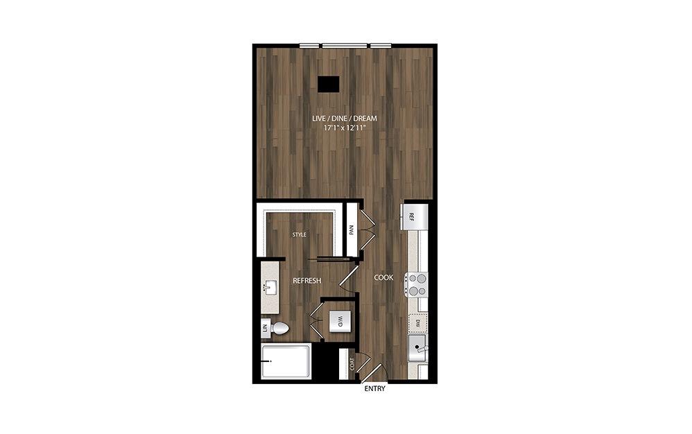 S4 - Studio floorplan layout with 1 bath and 562 square feet.