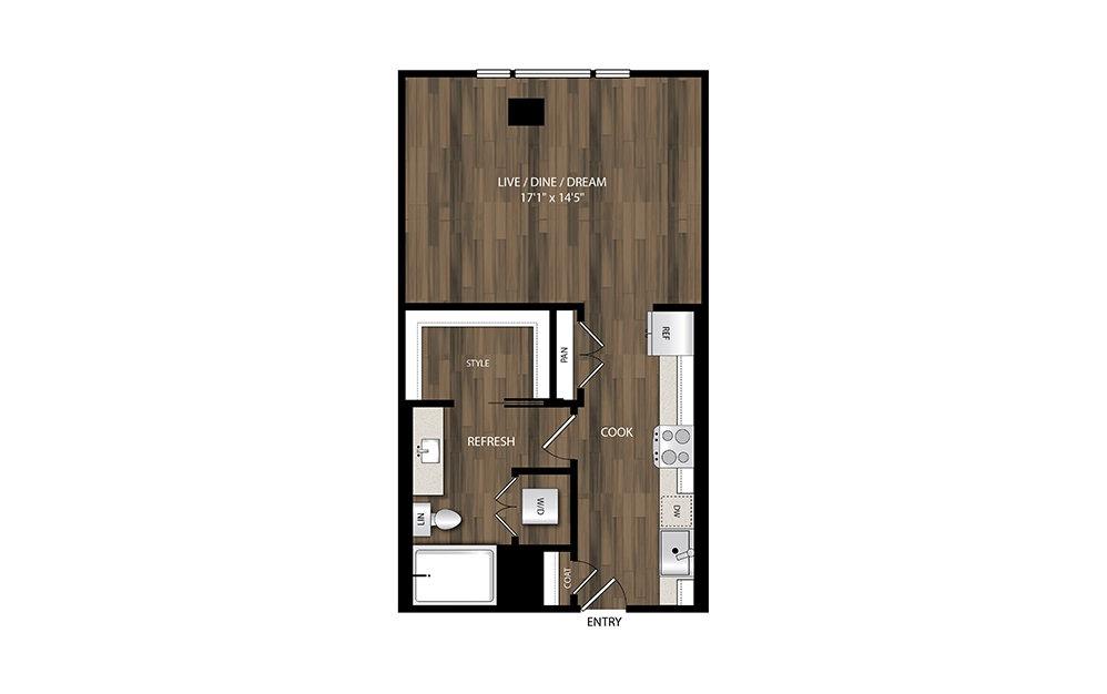 S4.1 - Studio floorplan layout with 1 bath and 593 square feet.