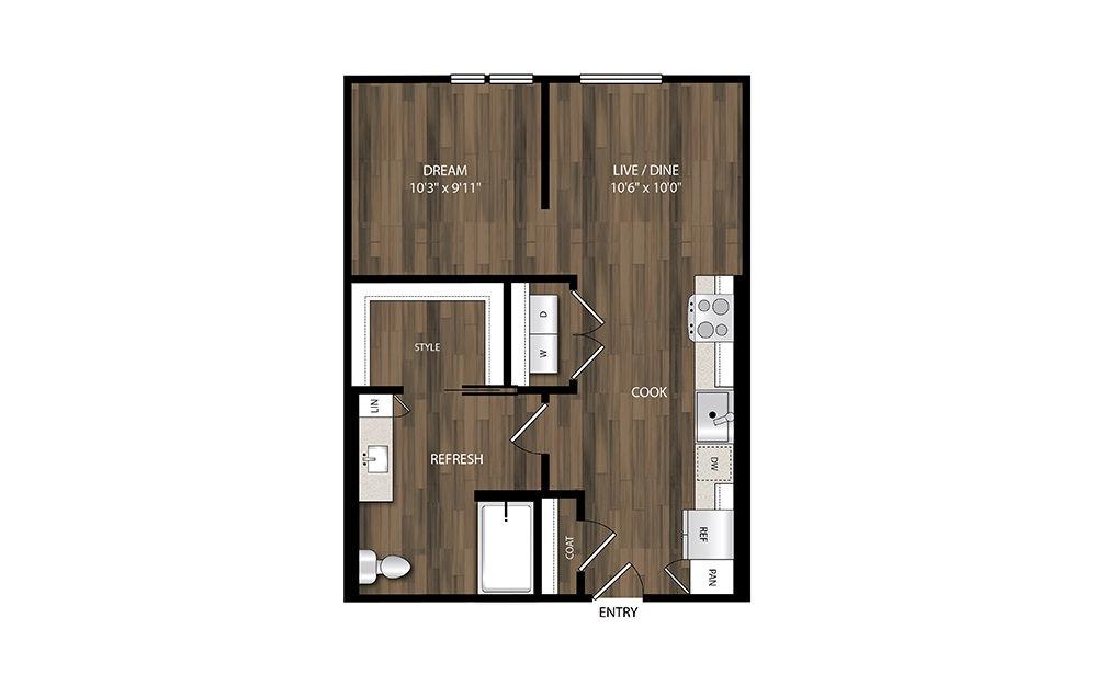 S5 - Studio floorplan layout with 1 bath and 618 square feet.